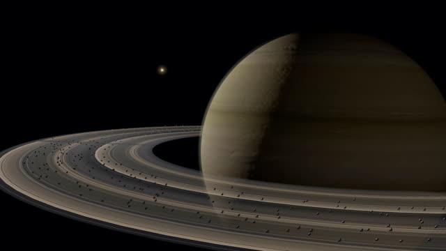 Flight in orbit of Saturn Planet. video