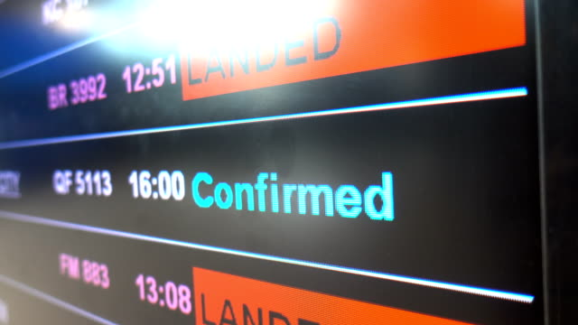 Flight information board with confirmed flights