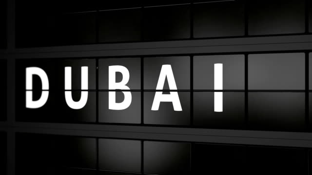 flight information board with the city name Dubai video