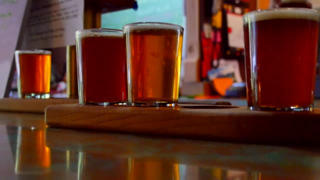 Flight of 5oz Craft Brewery Beer, Close Up Hand, Multiple Selections - video