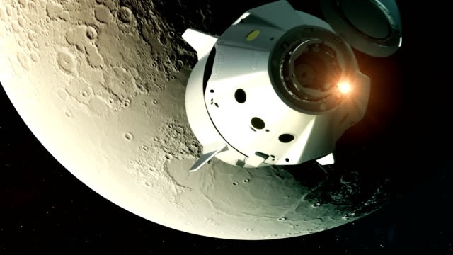 4K. Flight Of Commercial Spacecraft Over Background Of The Moon.