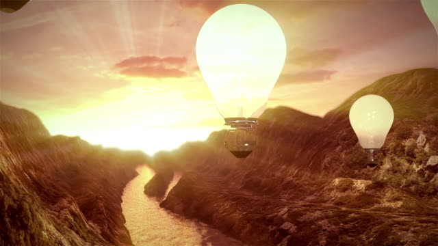 Flight of ideas. balloons ideas. Creative concept of the idea light bulb represented.