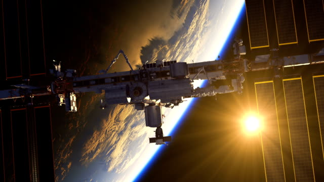 Flight Of International Space Station On The Background Of Earth And Rising Sun. video