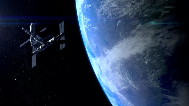 Flight Of The Space Station Above The Earth. FullHD video