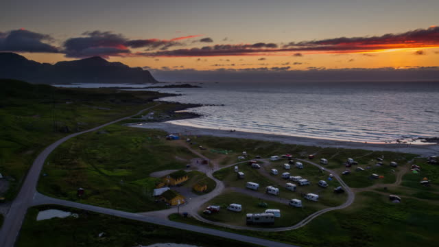 Flight over a campsite at the Lofoten Islands coastline in Norway video