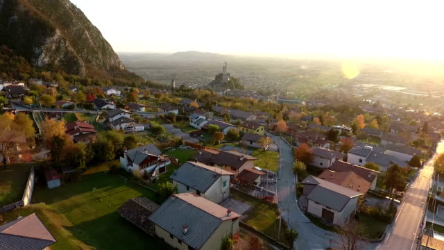 Flight over a town with cathedral in Northern Italy video