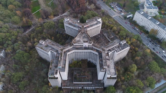 Flight over an unfinished Khovrinskaya abandoned hospital video