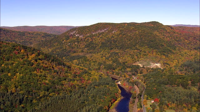 Flight Over Connecticut River  - Aerial View - Massachusetts,  Franklin County,  United States video