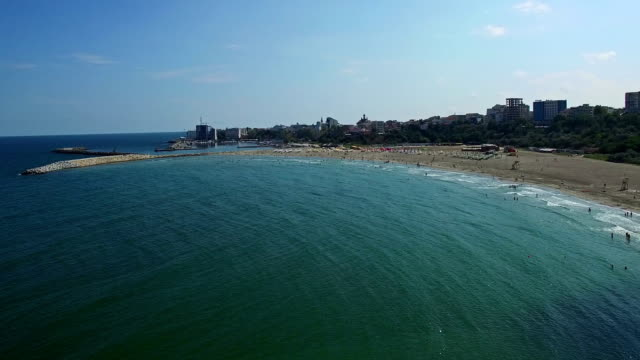 Flight over Constanta beach at Black Sea, Romania video