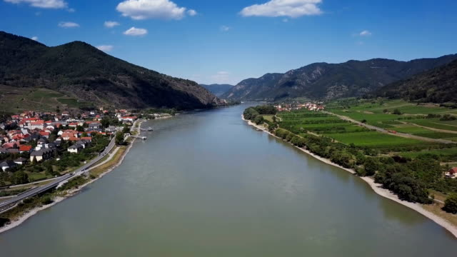 Flight over Danube in Wachau valley near Spitz, Austria