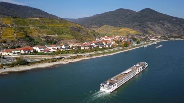 Flight over Danube in Wachau valley near Spitz, Austria