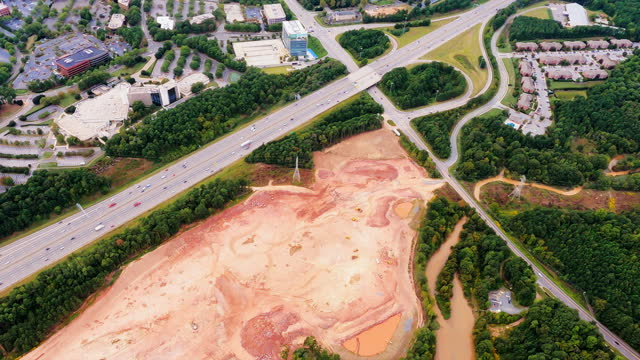 Flight Over Highway, Development, Tree Clearing and Construction video