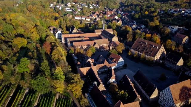 flug über maulbronn altstadt und weinberge, baden-württemberg, deutschland - aerial view soil germany stock-videos und b-roll-filmmaterial