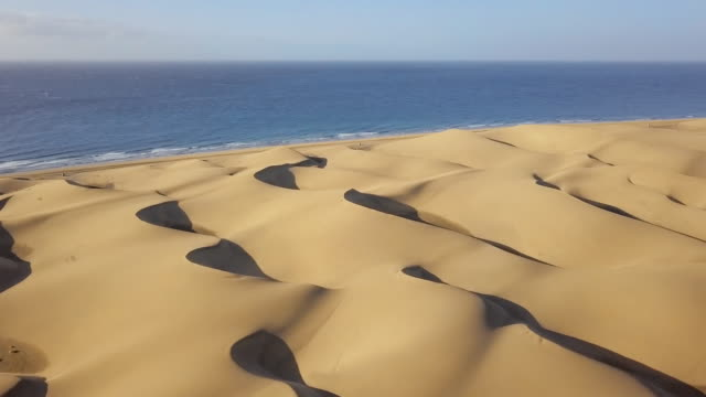 Flight over of Maspalomas sand dunes, Gran Canaria, Canary islands, Spain