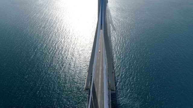 flight over of the charilaos trikoupis bridge rio-antirio - пелопоннес стоковые видео и кадры b-roll