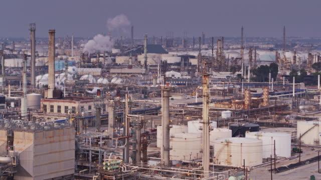 Flight Over Oil Refineries - video