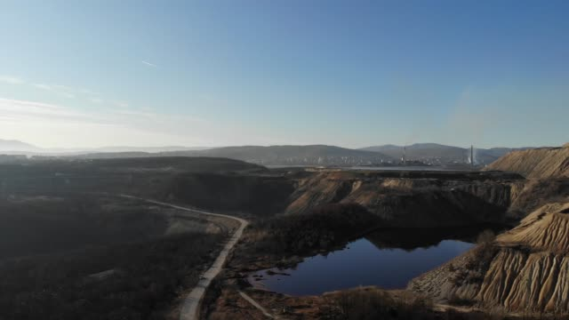 Flight over old copper and wastewater mine
