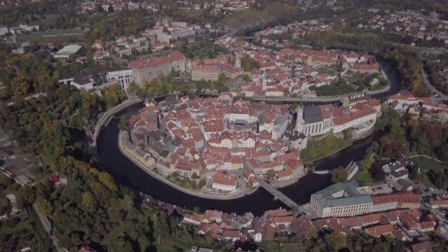 Flight over old town Cesky Krumlov, South Bohemia, Czech Republic. Original untouched LOG format. video
