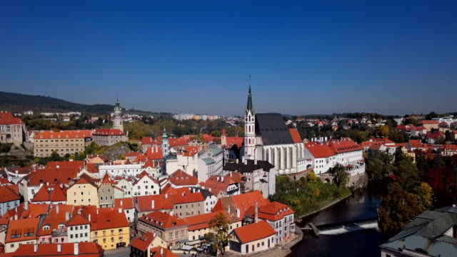 Flight over old town Cesky Krumlov, South Bohemia, Czech Republic. video