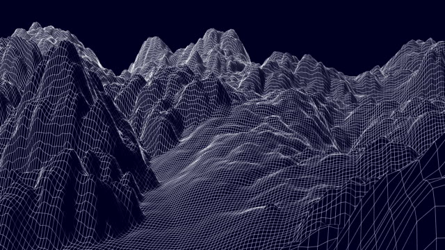flight over the digital mountain landscape. - modalità wire frame video stock e b–roll