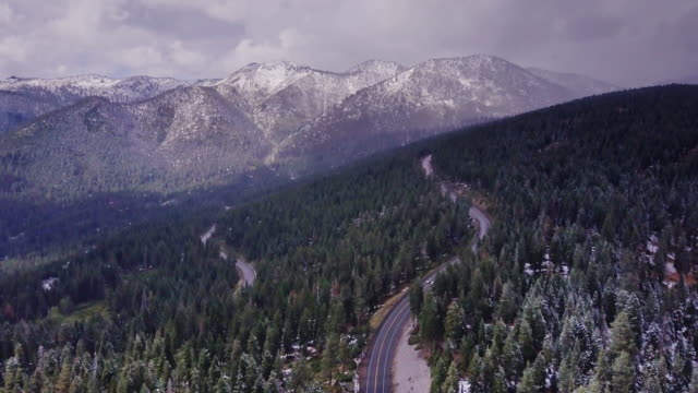降雪時にシエラ ・ ネバダ州の森林で 2 つの道路を飛行します。 - カリフォルニアシエラネバダ点の映像素材/bロール