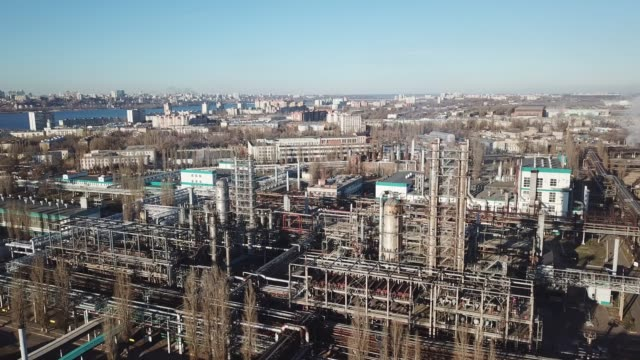 flight over voronezh thermal power plant - centrale termoelettrica video stock e b–roll