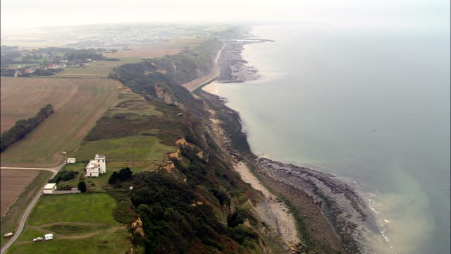 Flight Past Cliffs And Bunker  - Aerial View - Lower Normandy, Calvados, Arrondissement de Bayeux, France