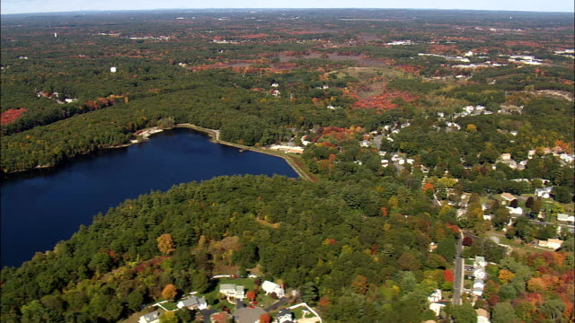 Flight past lake and Mishawum Business Park - Aerial View - Massachusetts,  Middlesex County,  United States video