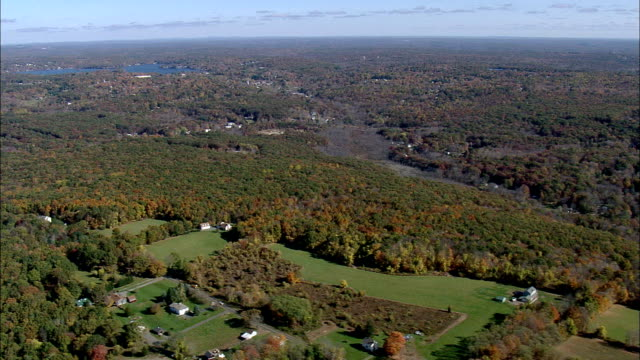 Flight Past Landscape East Of Connecticut River  - Aerial View - Connecticut,  Middlesex County,  United States video