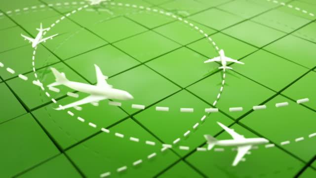 Flight Path Airplanes Background Loop - Green (Full HD)