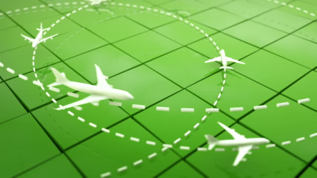 Flight Path Airplanes Background Loop - Green (Full HD) video