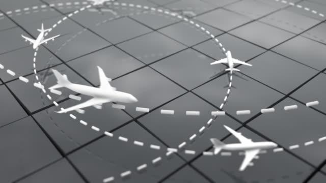 Flight Path Airplanes Background Loop - Grey (Full HD)
