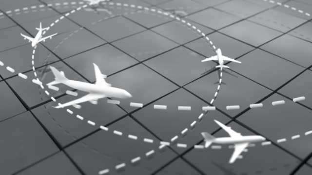 Flight Path Airplanes Background Loop - Grey (Full HD) video