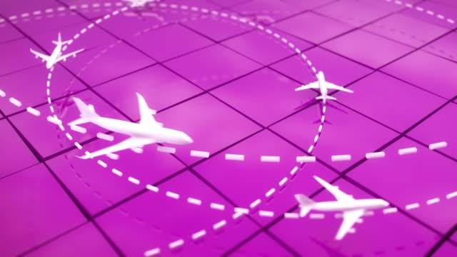 Flight Path Airplanes Background Loop - Pink (Full HD)