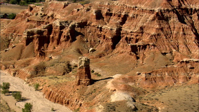 Flight Round Red Rock Pillar  - Aerial View - Wyoming,  Fremont County,  helicopter filming,  aerial video,  cineflex,  establishing shot,  United States video