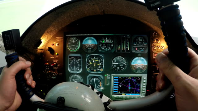 Flight Simulator Control Panel Male Hands Holding Airplane Steering