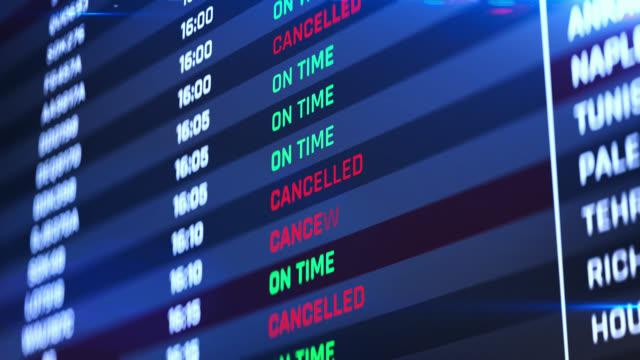 flight status change to canceled, airport emergency, terminal schedule changing - табло вылетов и прилётов стоковые видео и кадры b-roll