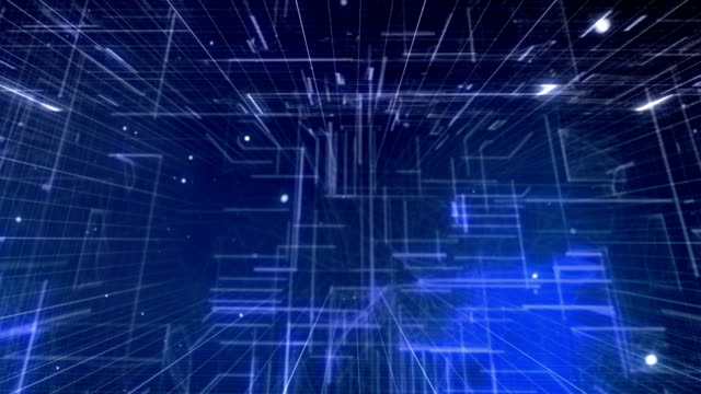 vidéos et rushes de vol à travers une abstraction numérique bleue - cube