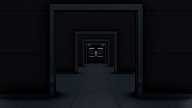 Flight through dark corridor with opening double doors. Animation with black and white mask included. multiple image stock videos & royalty-free footage