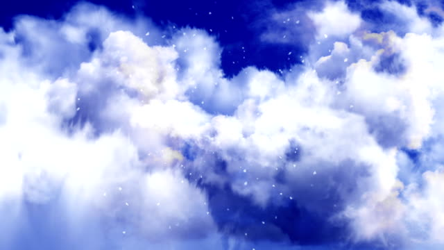 Flight Through Evening Sky Clouds With Particles video