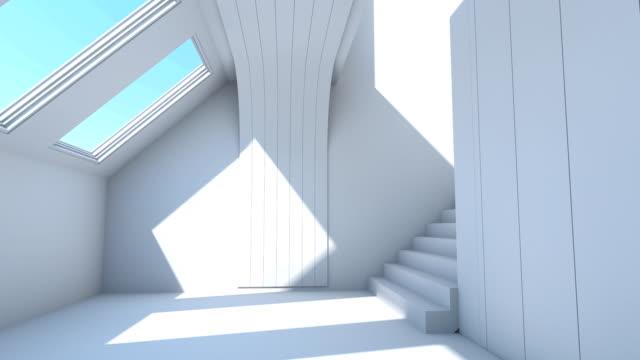 flight through modern white interior, stairs video