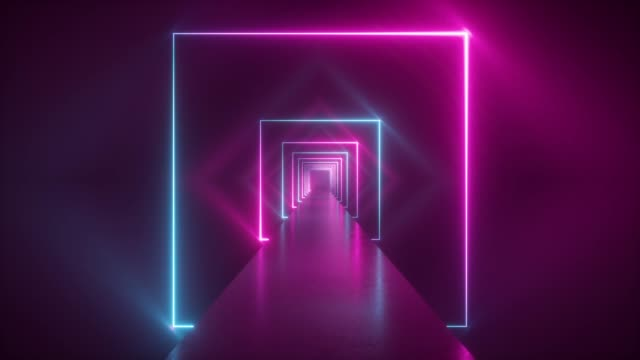 vídeos de stock e filmes b-roll de flight through neon tunnel, moving fashion podium, abstract background, spinning frames, virtual reality, glowing lines - atuação