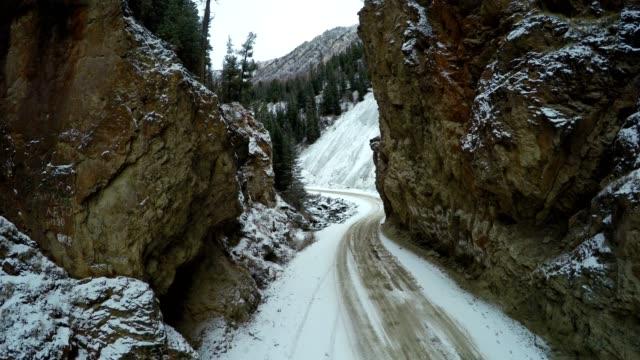 Flight Through Rocky Gates Above the Mountain Road video