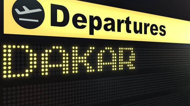 volo dakar sulle partenze internazionali dell'aeroporto in viaggio verso il senegal - dakar video stock e b–roll