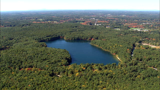 Flight To Walden Pond  - Aerial View - Massachusetts,  Middlesex County,  United States video