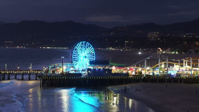 Flight Towards Santa Monica Pier at Night