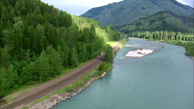 Flight Up the Middle Fork Flathead River  - Aerial View - Montana, Flathead County, United States video