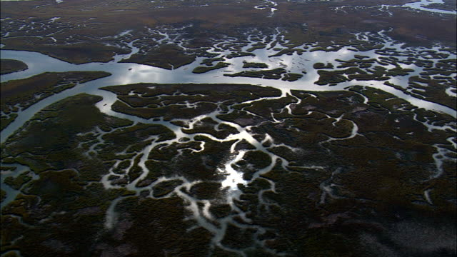 Flight With Reflections In Salt Marsh Creeks  - Aerial View - South Carolina,  Charleston County,  United States This clip was filmed by Skyworks on HDCAM SR 4:4:4 using the Cineflex gimbal. South Carolina,  Charleston County,   United States marsh stock videos & royalty-free footage
