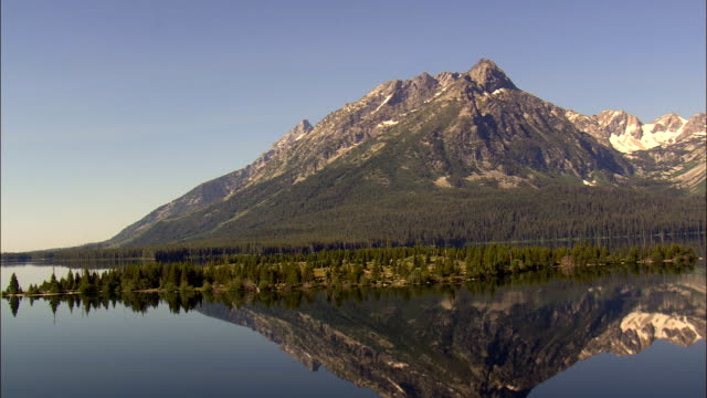 Flight With Reflections Of Teton Range In Leight Lake  - Aerial View - Wyoming,  Teton County,  helicopter filming,  aerial video,  cineflex,  establishing shot,  United States video