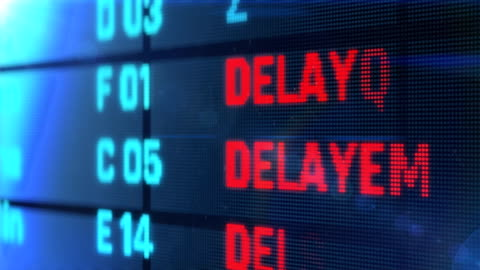 Flights delayed and canceled on departure arrival board, air transportation Device screen with airport flight information flying stock videos & royalty-free footage